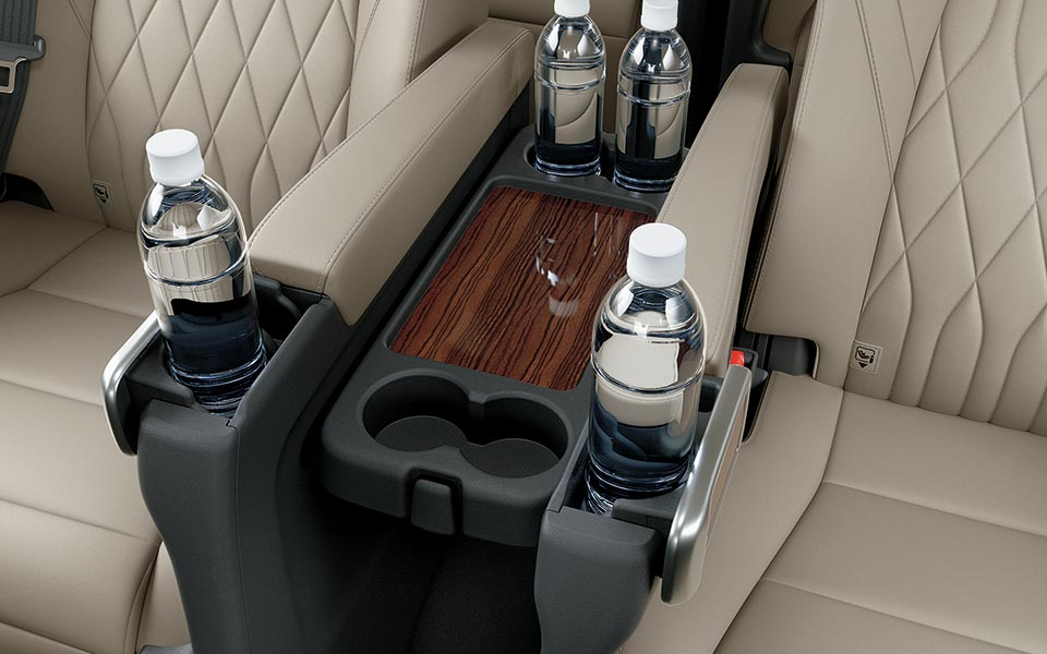 A seat side tray in toyota granvia 2020