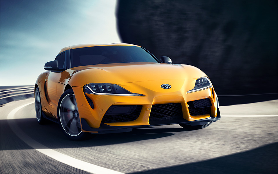toyota supra lightning yellow 2020 front-view